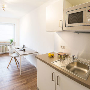 Sogar eine eigene Küche ist in einer Wohnung integriert